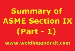 Summary of ASME BPVC Section IX – Part 1