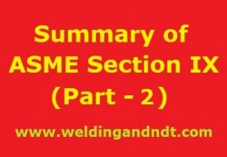 Summary of ASME BPVC Section IX – Part 2